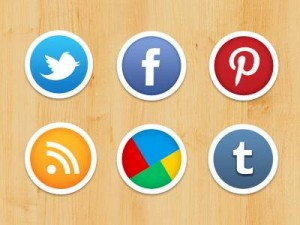 Social media icons used in marketing a body image