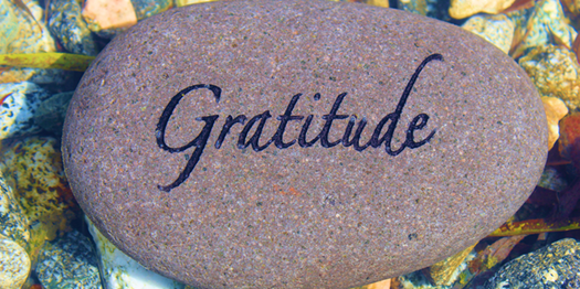 Gratitude inscribed into a Pebble