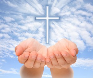 Hands Presenting Cross