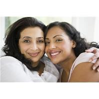 Middle-aged woman with daughter