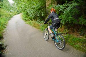 Female athlete bike riding