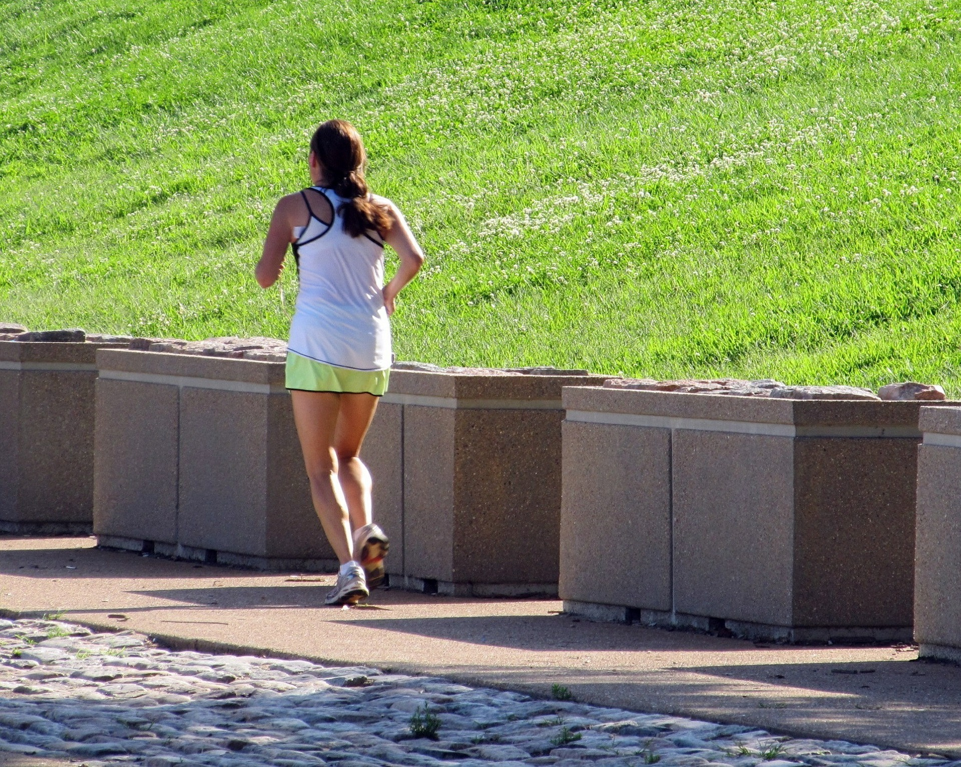 Woman running, Exercising and Eating