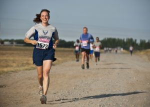 Woman with eating disorder running