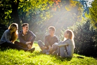Group of Young Happy Friends having fun outdoors