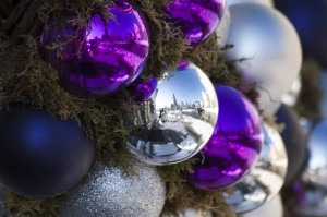 Purple and silver Christmas balls