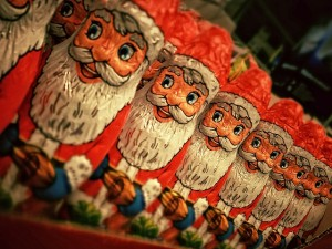 Overeating chocolate Santa Clauses