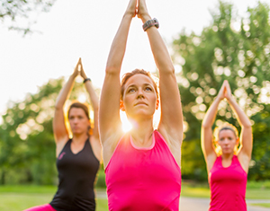 Women doing yoga to help with anxiety