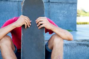 unrecognizable skateboarder