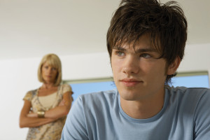 Teen boy working on Eating Disorder Communication Skills with mom