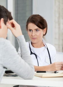 Dr. talking to patient about eating disorders