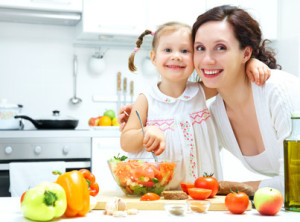 happy-mom-and-child-cooking