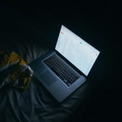 Computer on at night