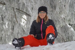 Canadian woman enjoying the snow