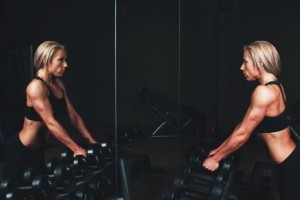 Woman working out in gym
