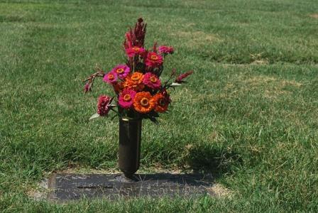 Gravesite with flowers