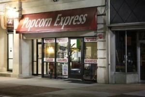 Popcorn Express Store during the evening.