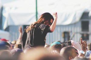 Woman enjoying herself at a music festival
