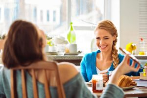 Eating Disorder Recovery Specialist's kitchen with two women speaking.
