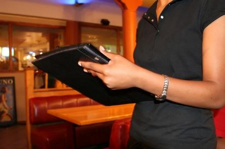 Waitress taking a food order