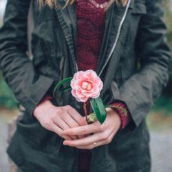 Woman pink rose