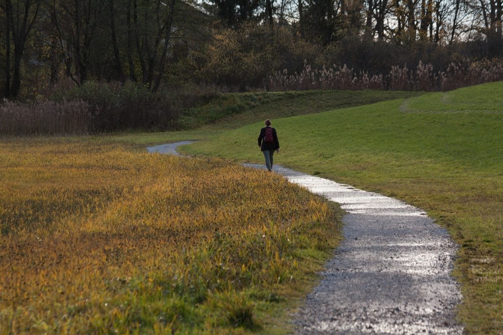 woman on path to mindfulness