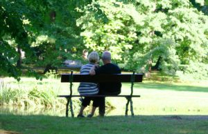 Aging couple on a bench