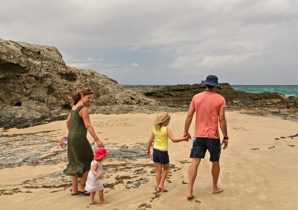 Helpful Family Involvement with family walking on a beach
