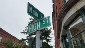 The corner of Main and High