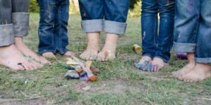 Family standing bare foot