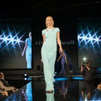 Woman in fashion show on runway