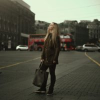 Woman with bag struggling with anorexia