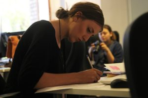 Woman focusing on her career