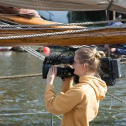 Woman filming