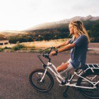 Teen girl on bicycle