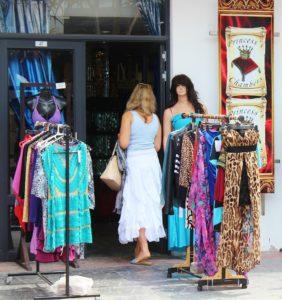 Woman clothes shopping