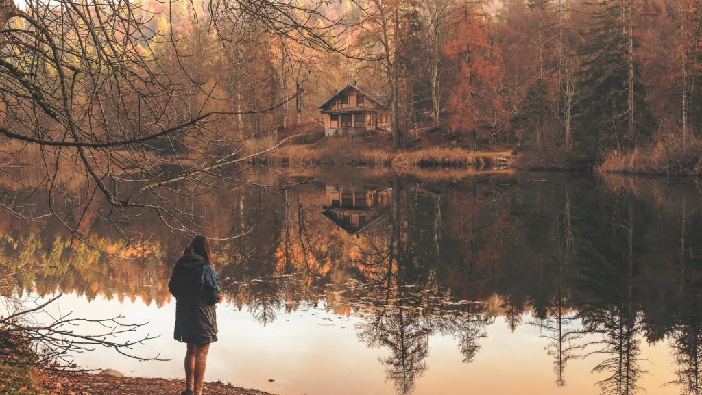 Woman by the lake with Bulimia Nervosa