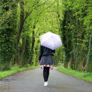 Woman with eating disorder in the rain