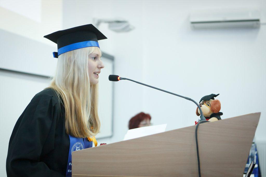 College student speaking at graduation