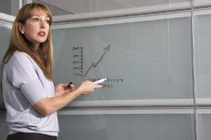 Teacher on the whiteboard