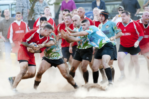 Rugby player participating in his first match after bulimia treatment.