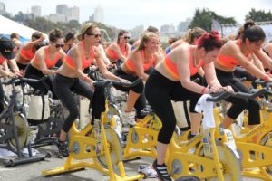 Women on spinners working on their thinness