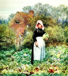 Puritan Lady in Garden