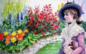 Victorian Lady in Garden