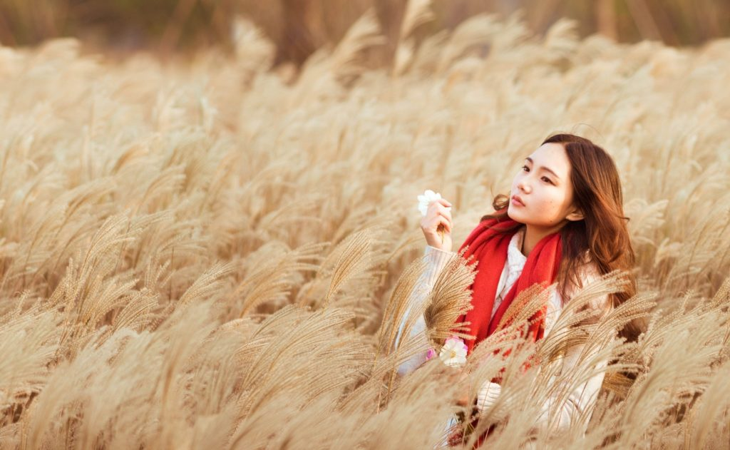 Asian American Woman in Wheat Field