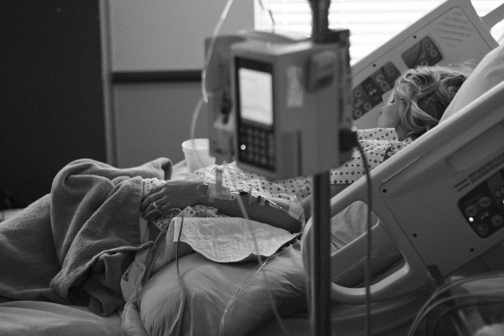 Lady in Hospital Bed for eating disorder medical stabilization