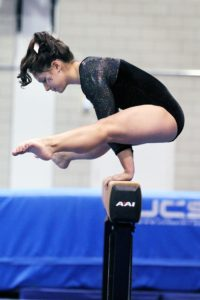 Athletes and Body Image Concern with Gymnast Doing Splits on Balance Beam