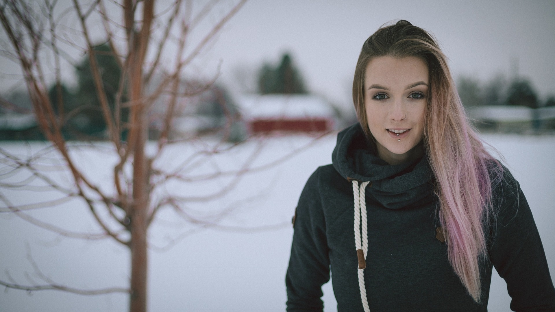 Girl in snow field with a Positive Body Image