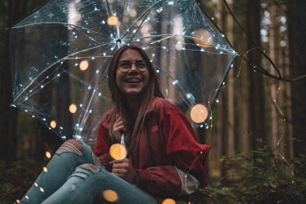 Teen Adolescent Girl in Winter with Umbrella