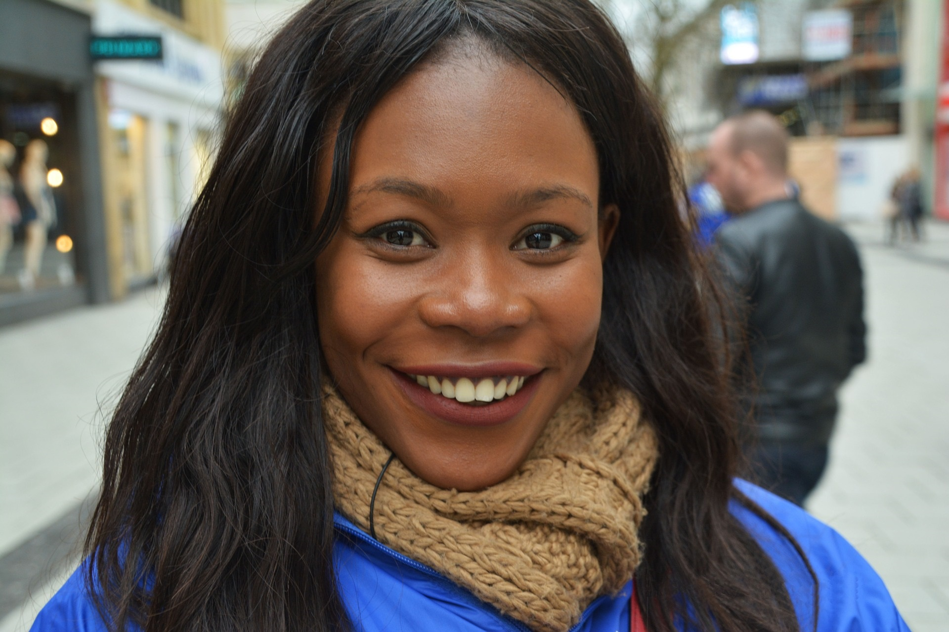 African American Black Woman in Blue Sweater