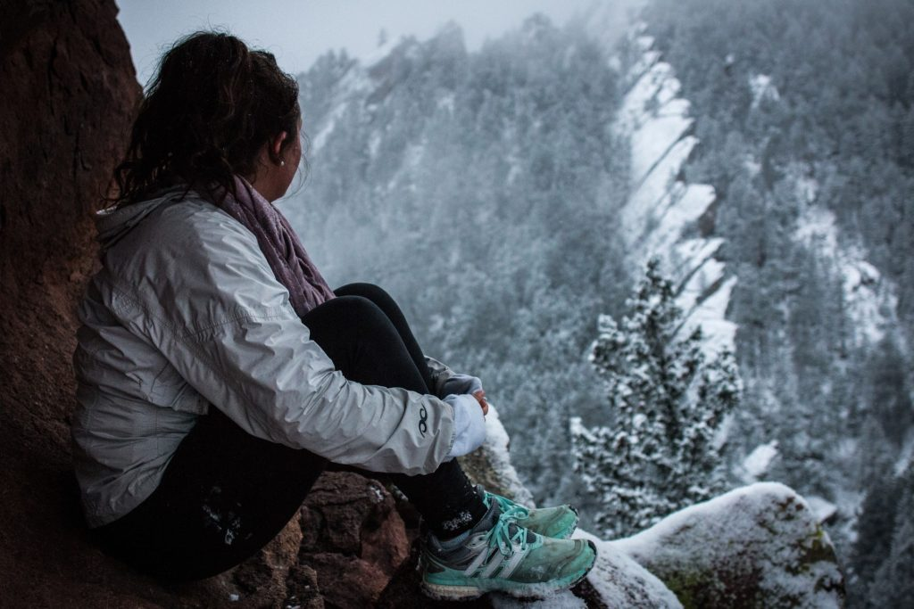 image of woman in winter nature scene